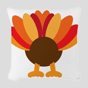Turkey Face, Gobble Gobble Gob Woven Throw Pillow