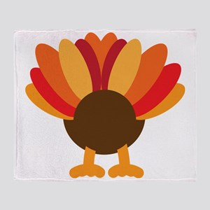 Turkey Face, Gobble Gobble Gobble Fu Throw Blanket