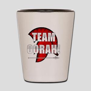 Team Oorah white logo Shot Glass