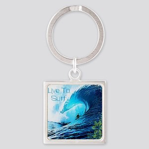Live To Surf Square Keychain