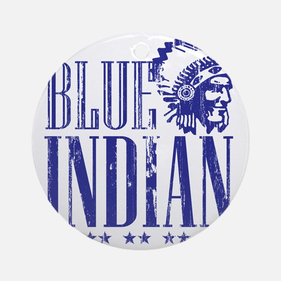 Blue Indian Head Dress Vintage Round Ornament
