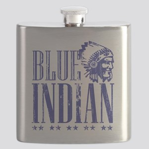Blue Indian Head Dress Vintage Flask