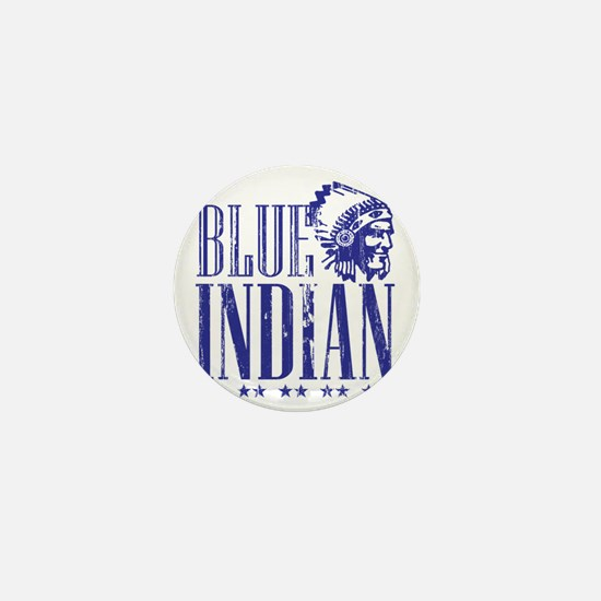 Blue Indian Head Dress Vintage Mini Button