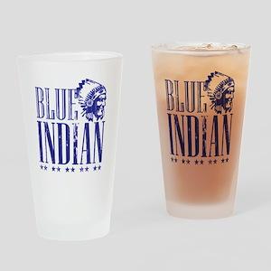 Blue Indian Head Dress Vintage Drinking Glass