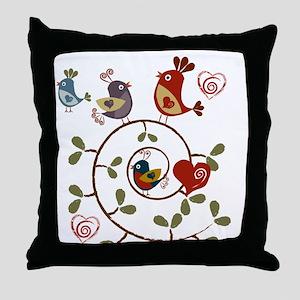 Folkart Birds Throw Pillow
