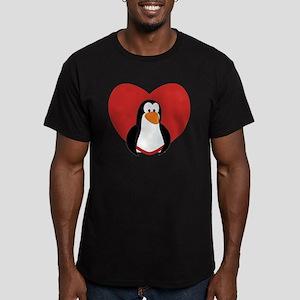 Penguin Valentine Men's Fitted T-Shirt (dark)