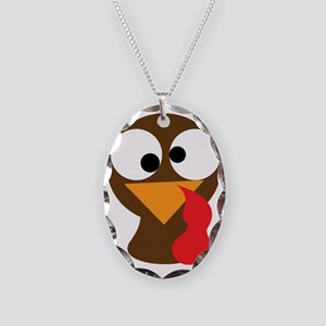 Turkey Face, Gobble Gobble Gob Necklace Oval Charm
