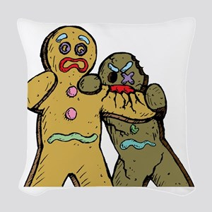 Gingerbread Zombies Woven Throw Pillow