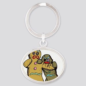 Gingerbread Zombies Oval Keychain