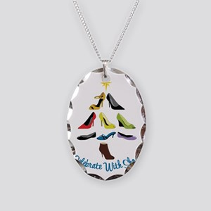 Celebrate With Shoes Necklace Oval Charm