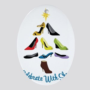 Celebrate With Shoes Oval Ornament