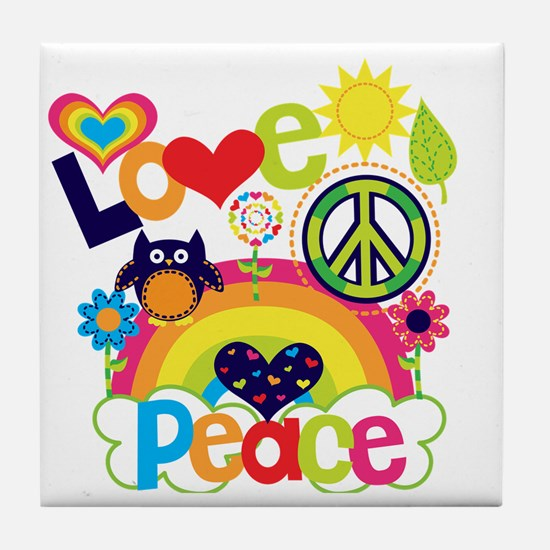 Love and Peace Tile Coaster