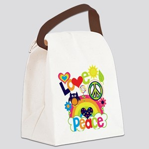 Love and Peace Canvas Lunch Bag