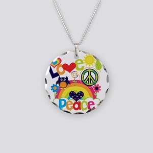 Love and Peace Necklace Circle Charm