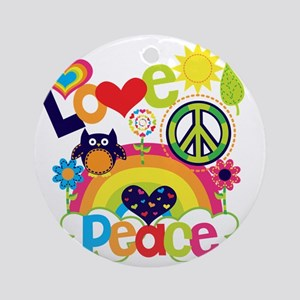 Love and Peace Round Ornament