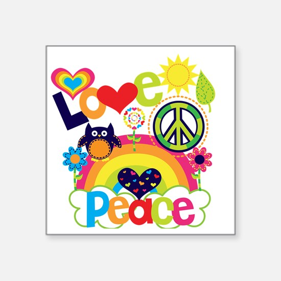"Love and Peace Square Sticker 3"" x 3"""