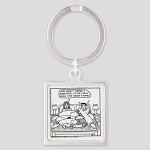 On The Bed Square Keychain