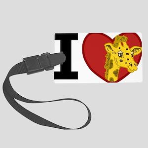 I Love Giraffes Large Luggage Tag