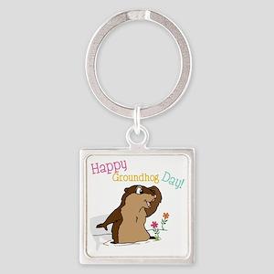Happy Groundhog Day Square Keychain