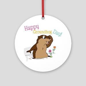 Happy Groundhog Day Round Ornament
