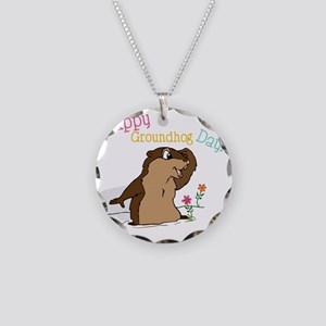 Happy Groundhog Day Necklace Circle Charm