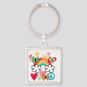 Happy Doodles Square Keychain