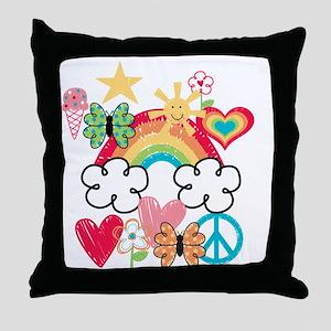 Happy Doodles Throw Pillow