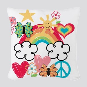 Happy Doodles Woven Throw Pillow