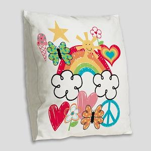 Happy Doodles Burlap Throw Pillow