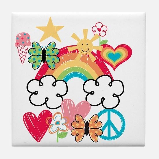 Happy Doodles Tile Coaster