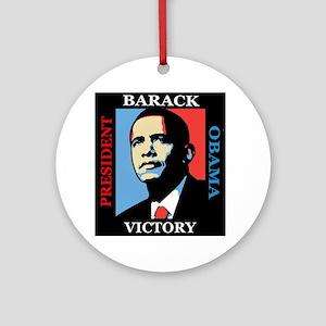 Barack Obama Victory Round Ornament