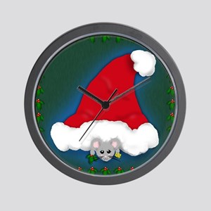 Christmas Peeking Mouse Wall Clock