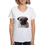 Women's Pug Love V-Neck T-Shirt