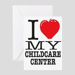 I Love My Childcare Center Dark Greeting Card