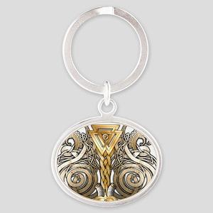 Norse Valknut Dragons Oval Keychain