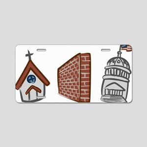 Church and State--White Aluminum License Plate