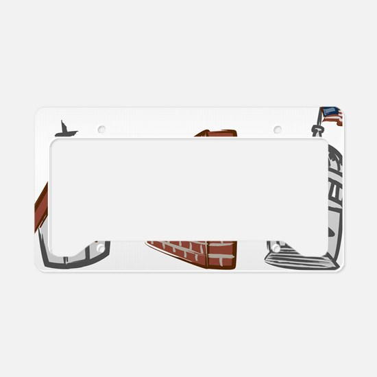 Church and State--White License Plate Holder