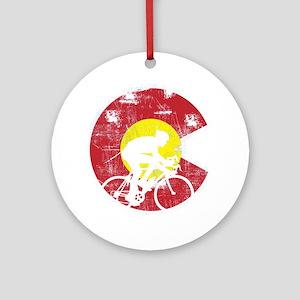 Bike Colorado Round Ornament
