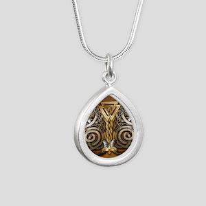 Norse Valknut Dragons Silver Teardrop Necklace