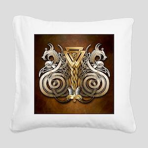 Norse Valknut Dragons Square Canvas Pillow