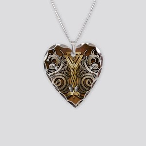 Norse Valknut Dragons Necklace Heart Charm
