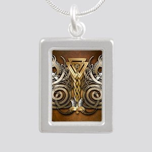 Norse Valknut Dragons Silver Portrait Necklace