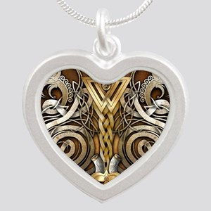 Norse Valknut Dragons Silver Heart Necklace
