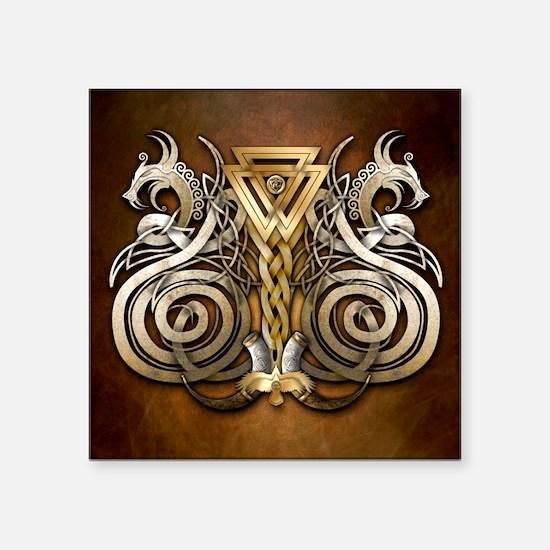 """Norse Valknut Dragons Square Sticker 3"""" x 3"""""""