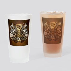 Norse Valknut Dragons Drinking Glass