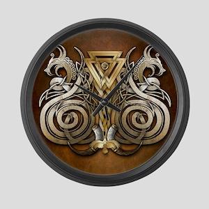 Norse Valknut Dragons Large Wall Clock