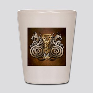 Norse Valknut Dragons Shot Glass