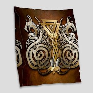 Norse Valknut Dragons Burlap Throw Pillow