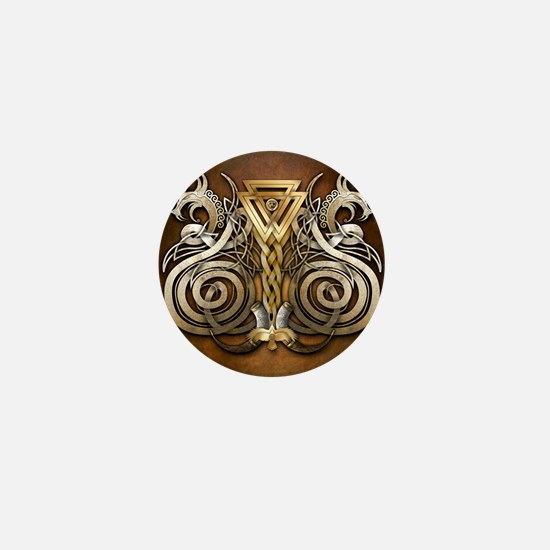 Norse Valknut Dragons Mini Button