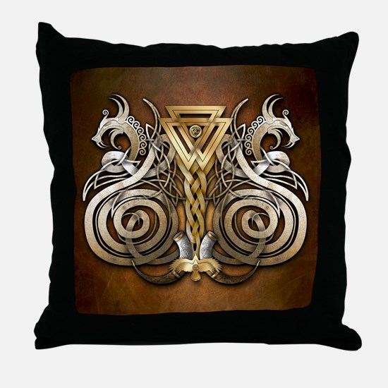 Norse Valknut Dragons Throw Pillow